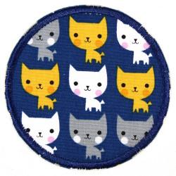 Flicken zum aufbügeln rund Katzen auf blau Aufbügler reißfeste Bügelflicken