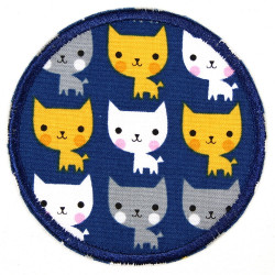 Flickli - the patch! round cats on blue badge and applique