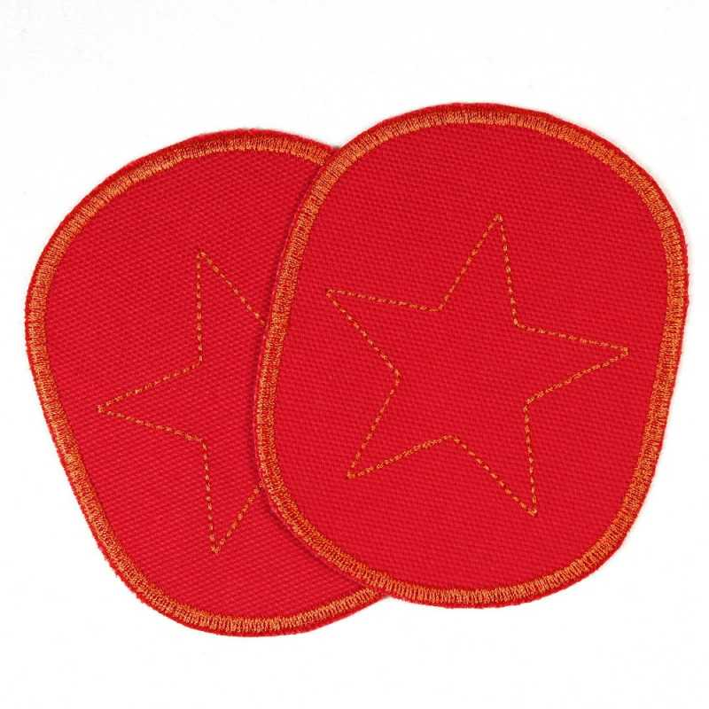 Patch set of retro orange stars on red, tearproof canvas cotton fabric, and ideal as a knee patch