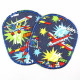 Flickli - the patch! Set retro airplane XL on blue