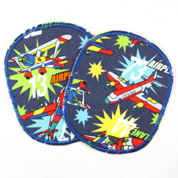 Patch to iron on Set of retro XL airplanes, colorful, tear-resistant patches