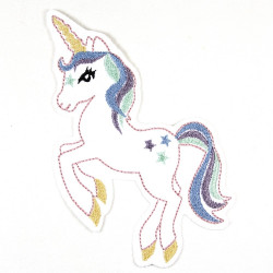 Bügelbild Einhorn weiß mit Pastellfarben großer Aufbügler und Applikation zum aufbügeln