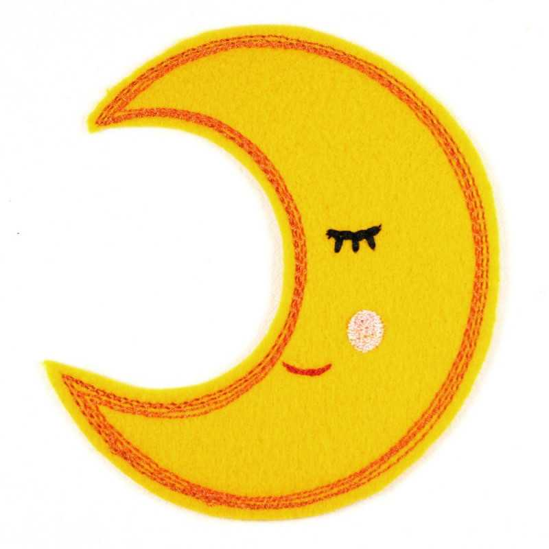 embroidered applique moon badge and iron on patches