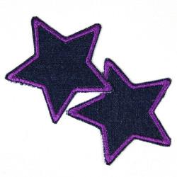 Bügelflicken Sterne 2 Stück auf blue Jeans Aufbügler lila gefasste Flicken 7cm