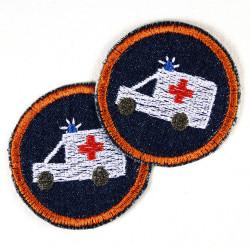Bügelflicken rund mit Krankenwagen Aufbügler auf Jeans blau 5cm Doppelpack Bügelbilder gestickt