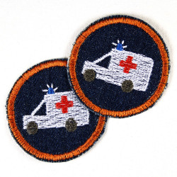 Flickli - the patch! round with ambulance car emergency blue denim