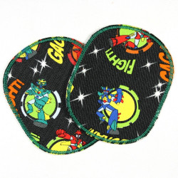 Flickli - the patch!  Set retro airplane XL multicolor large pants patches and appliques for children