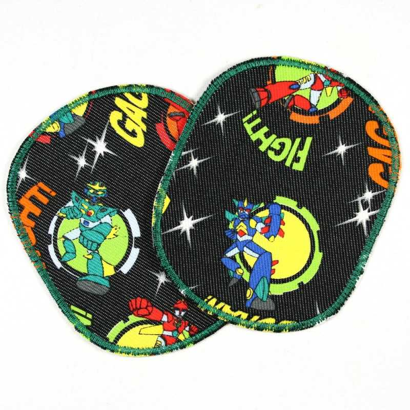 Patch to iron on Set retro XL robot comic, tear-resistant fabric iron-on patch