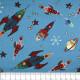 Stoffe Michael Miller Raketen auf blau patchworkstoff zum quilten Baumwollstoffe Motive für Kinder