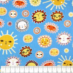 Baumwollstoff Little Senoritas Cabana Patchworkstoffe Robert Kaufman Stoffe Sonnen auf blau Accessoires für Kinder