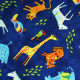 fabrics cotton tiger giraffe elephant multicolor on blue timeless treasures fabrics