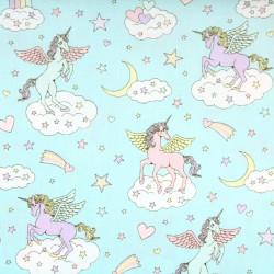 cosmo fabrics unicorns rainbows clouds japanese cotton fabric