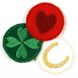 Bügelflicken klein rund Aufbügler Herz Hufeisen Kleeblatt 3,5cm Flicken zum aufbügeln Set 3 Stück