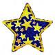 Flicken zum aufbügeln Stern blau mit gelben Sternchen Aufbügler reißfester Bügelflicken
