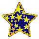 iron-on patches star blue with yellow starlettes strong applique e.g. for pants