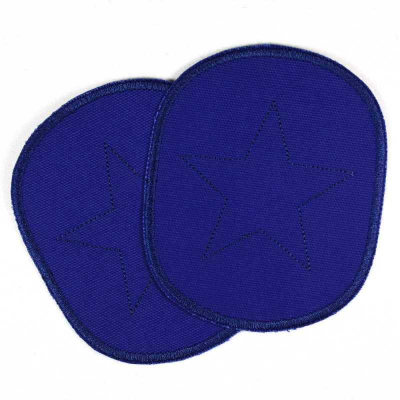 Iron-on patches XL with star on blue canvas iron-on patch set for boys