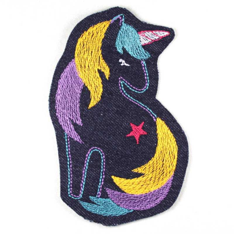 iron-on patches unicorn purple embroidered strong denim jeans applique