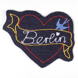 iron-on patches heart embroidered Berlin sign blue denim