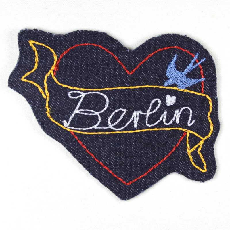 iron-on patch heart Berlin blue denim embroidered applique