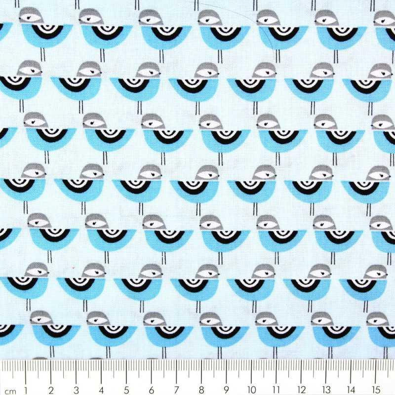 cotton fabric birds blue patchwork Suzy's Minis Robert Kaufmann fabrics