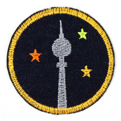 iron-on patches Berliner Fernsehturm round space needle Berlin ø 7cm blue denim tv tower accessory