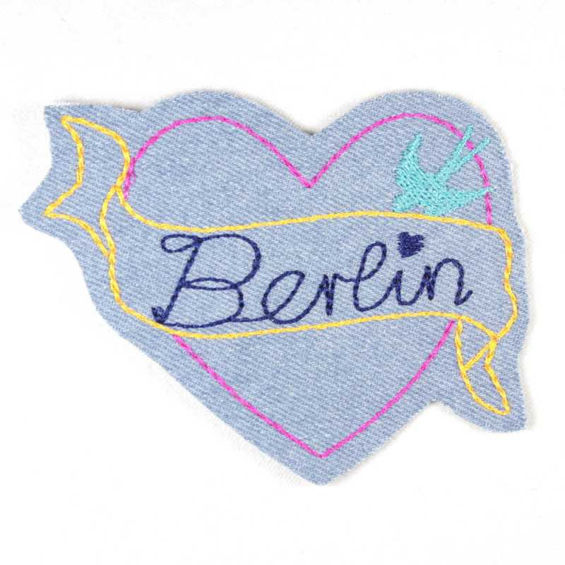 iron-on patches heart embroidered Berlin sign light blue denim