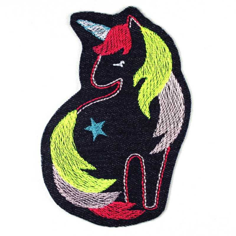 patches unicorn blue jeans pink neon embroidery iron on for girls