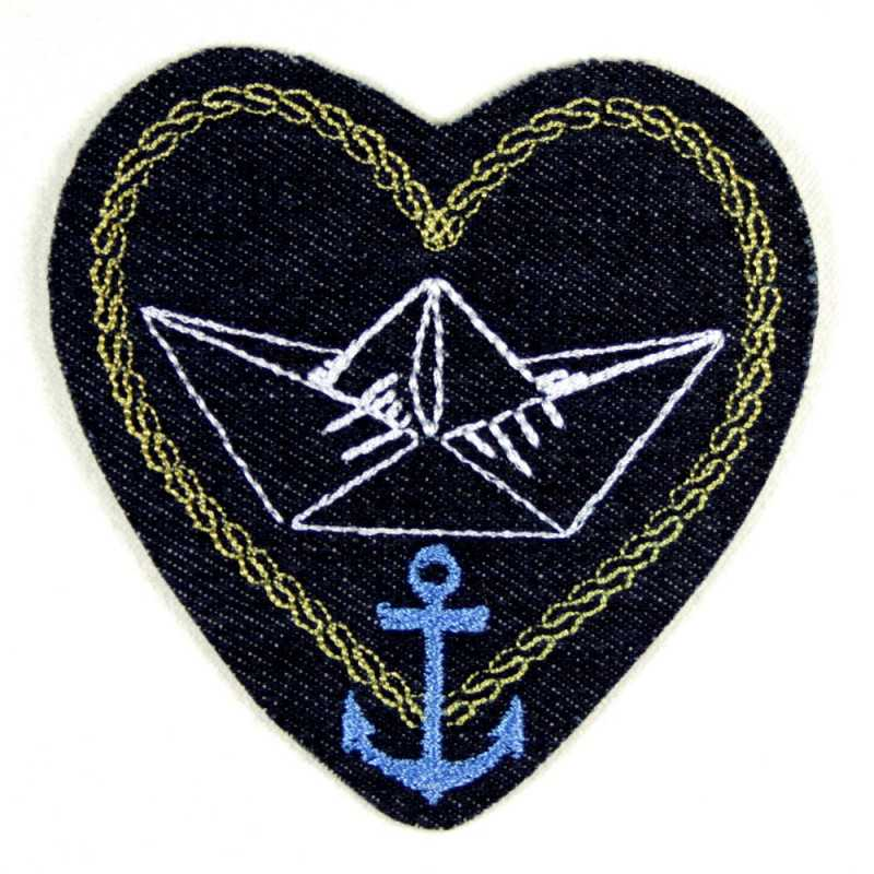 iron-on patches heart embroidered love hope faith blue denim