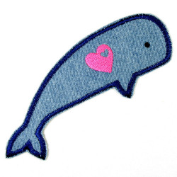 iron-on patches whale light blue with heart embroidered denim applique