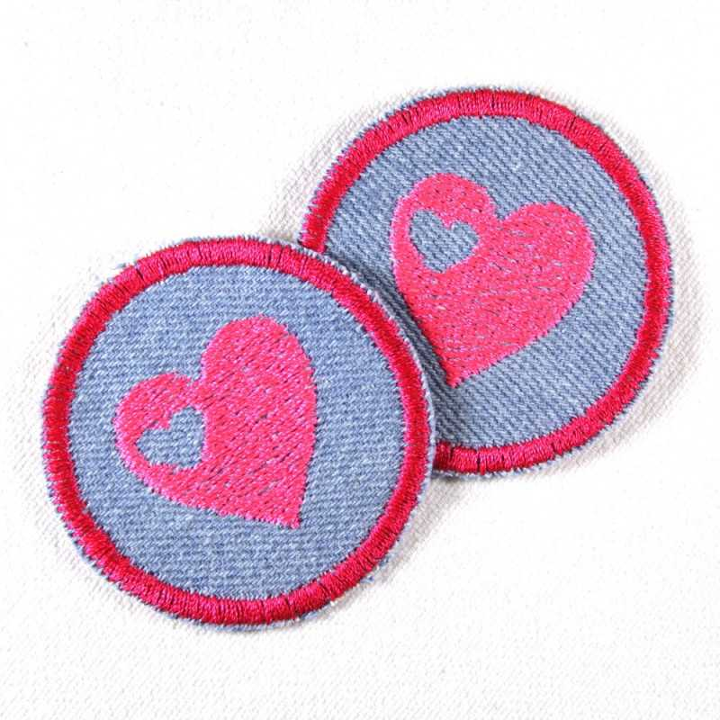 iron-on patches round with embroidered pink heart on light blue denim cute girls appliques