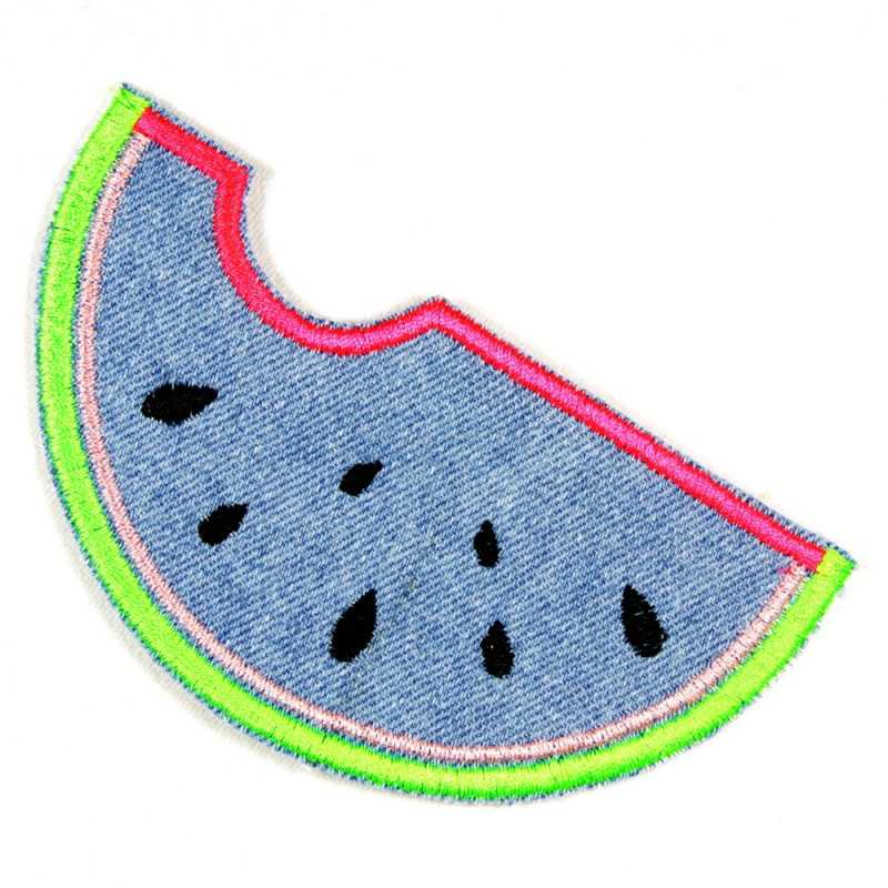 Accessories melon light blue embroidered iron-on patches solid denim