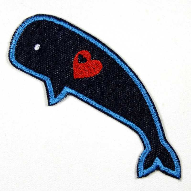 iron-on patch! whale applique blue denim with little embroidered heart