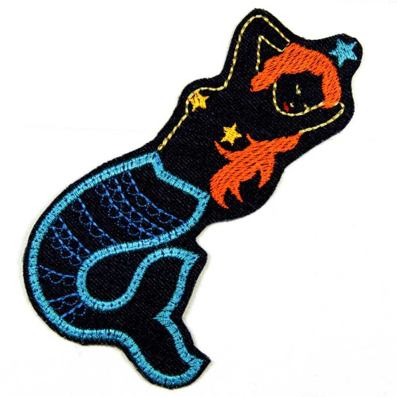 iron-on patches mermaid embroidered applique blue denim accessory for denim jackets
