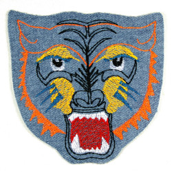 iron-on patches tiger embroidered tiger head light blue denim applique fringe accessory