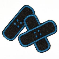 Aufbügler Pflaster Bügelflicken Jeans schwarz petrol Flicken Set klein mittel Bügelbilder gestickt