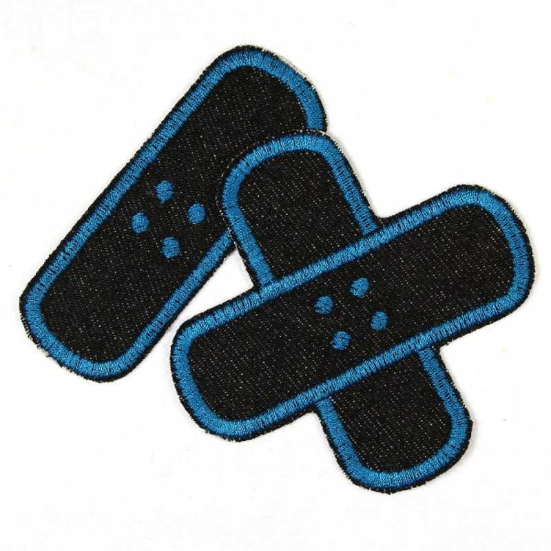 Flickli plaster iron-on patches black jeans embroidered petrol, set small medium
