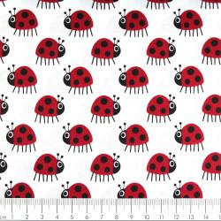 copenhagen fabrics red ladybugs printed white cotton fabric Denmark