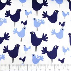 Stoffe Copenhagen weicher Baumwollstoff bedruckt Vögel blau auf weiß