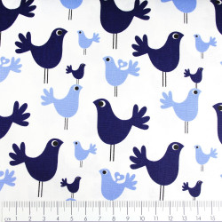 copenhagen fabrics blue birds printed white soft cotton fabric Denmark