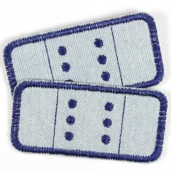 Flicken zum aufbügeln Jeans Pflaster Bügelflicken 2 Stück Bügelbilder hellblau blau