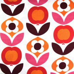 copenhagen fabrics red flowers printed white cotton fabric Denmark scandinavian designer fabrics