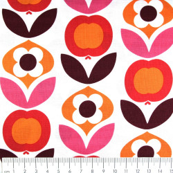 copenhagen fabrics red flowers printed white cotton fabric Denmark scandinavian designer fabrics
