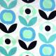 Stoffe Copenhagen Designer Baumwollstoff Blumen blau auf weiß bedruckte skandinavische Stoffe