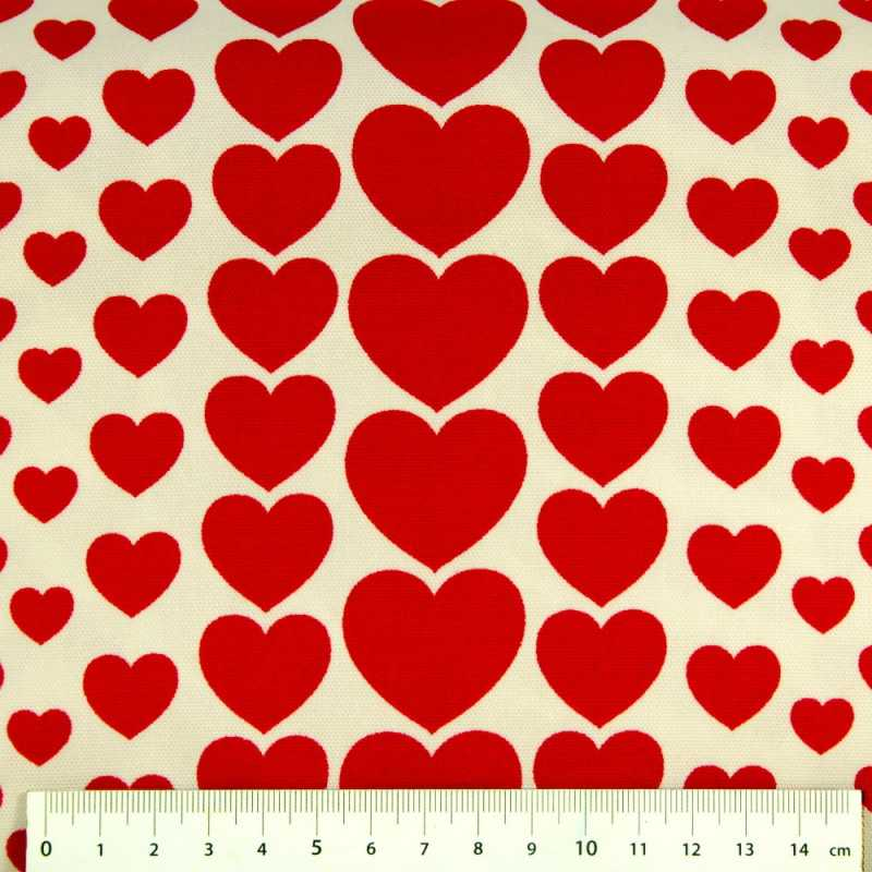 cosmo canvas fabrics hearts cotton red hearts and hearts on white solid quality
