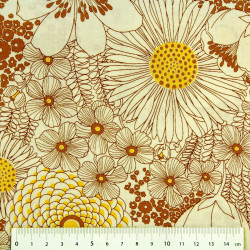 cotton fabric flowers brown orange yellow Robert Kaufmann fabrics plants