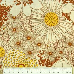 Blumen Baumwollstoff Kaufman Stoffe mit Blüten orange beige gelb braun Herbststoffe Modestoffe