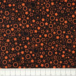 Sterne Kreise orange Baumwollstoff schwarz von Patrick Lose Stoffe