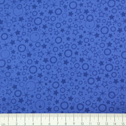 blue cotton fabric for quilting patchwork printed circles and stars Patrick Lose fabrics small motives