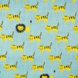 japanese kokka kawaii fabrics soft cotton tiger lion Double Gaze
