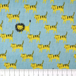 japanese kokka kawaii fabrics soft cotton tiger lion Double Gaze